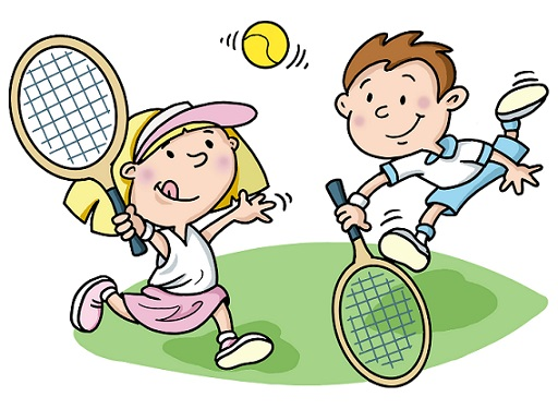 Children playing tennis cartoon